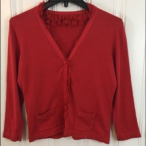 Cabi Red Ruffle Button Cardigan Size small